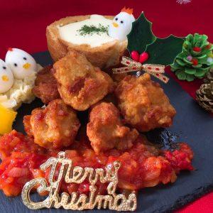クリスマスにぴったり!冷凍唐揚げでチーズフォンデュ